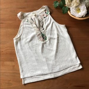 Tiny White Knit Sequin Neck Tank